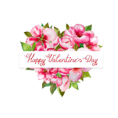Colorful Valentines day heart with pink blossom and green leaves