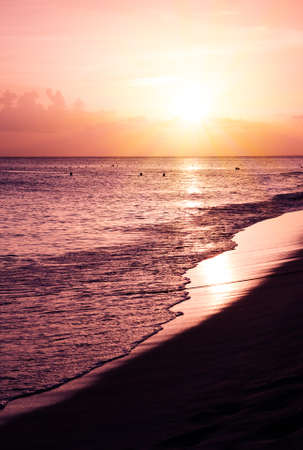 Sunset on the beach of caribbean sea.Summer background.