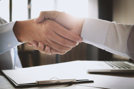 recruitment and interview concept , candidate with human resource manager handshaking. Archivio Fotografico