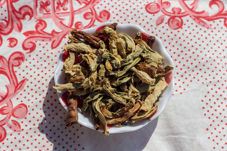 a closeup food shoot to dried peppers with round bowl. photo has taken at a village at turkey. 版權商用圖片