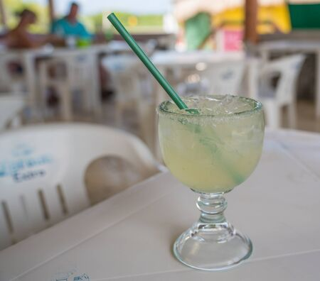 Local bars on Cozumel specialize in fresh squeezed cocktails Stock Photo