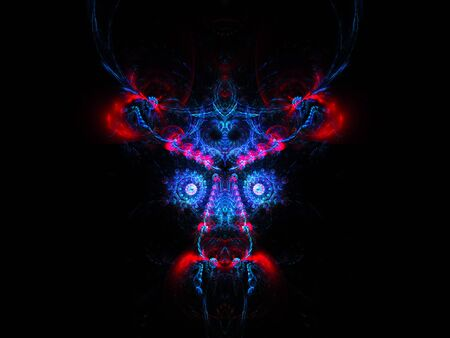 abstract portrait: Abstract portrait of mysterious face. Fractal design on a black background.