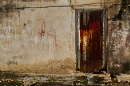 Dirty walls with colorful doors zinc Stock Photo
