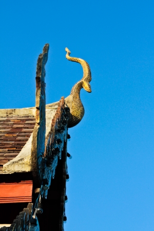 Gable apex with blue sky background Stock Photo