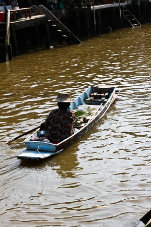 Way of life on the river in Thailand,  Way of life in rural Thailand that is simple enough for a nature healthy body and mind  with compassion and a smile to be called the land of Smiles, This photo was taken in Samut Songkhram province, Thailand