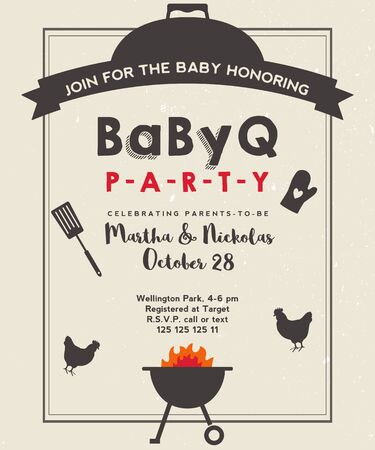 Baby shower barbeque party with vintage background. BBQ invite template. Grunge paper