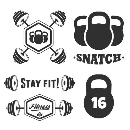 Set of fitness vintage design elements and labels. Stay fit