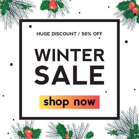 Holly leaf Winter sale square banner. Huge discount. Shop now
