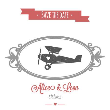 Tedere huwelijksuitnodiging met uitstekend vectorhuwelijksvliegtuig Stockfoto - 88771323