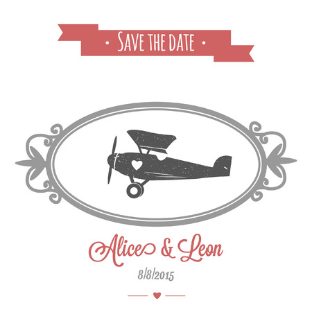 Tender wedding invitation with vintage vector wedding airplane