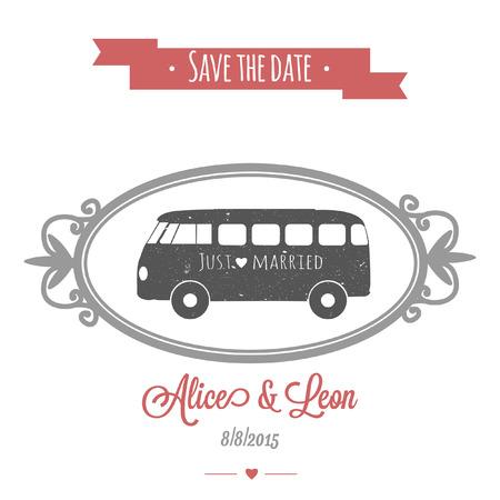 ビンテージ ベクトル結婚式バスで入札結婚式招待状  イラスト・ベクター素材