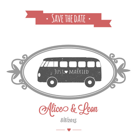Tender wedding invitation with vintage vector wedding bus Illustration
