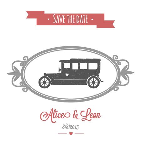 Vintage vector wedding car on tender wedding invitation with retro frame