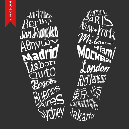 Footprint lettering. Travel poster. Capitals names included: London, Moscow, Lisbon, Buenos Aires. 矢量图像