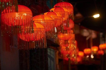 밤에 중국 초롱 스톡 콘텐츠