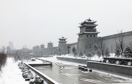 Snow scene of Datong ancient city