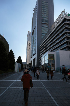Streetscape of Japanese building and the road in Tokyo,Japan