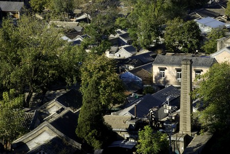 cramped: Beijing Hutong shot from above during day