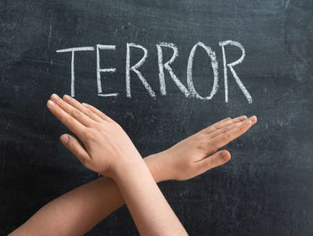 The inscription TERROR on a chalkboard, crossed female hands on the background of the text