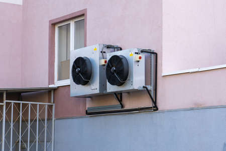 Air conditioning on the outer wall of an office building