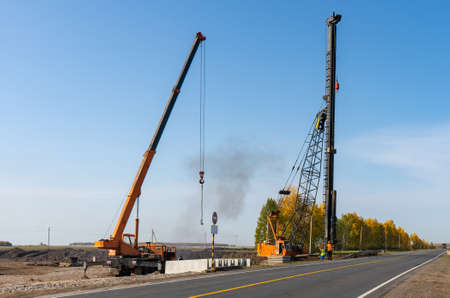 Road works on the M-7 highway, piling machine