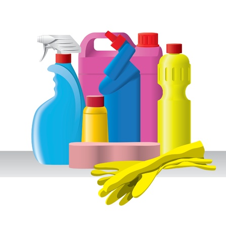 domestic chore: Group of detergent bottles with gloves