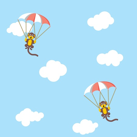 Monkeys with parachutes. Childish seamless wallpaper Vector
