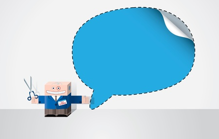 Office worker cuts out speech bubble Vector