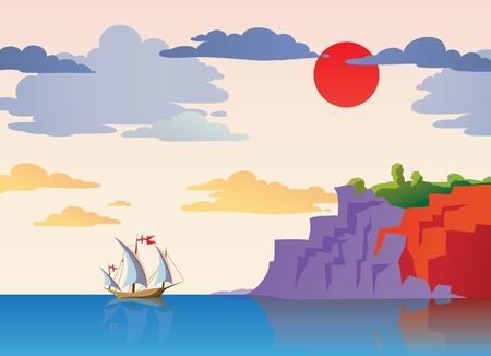ship sky: Coastal landscape with a ship Illustration