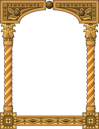 wood carving: Traditional column frame Illustration