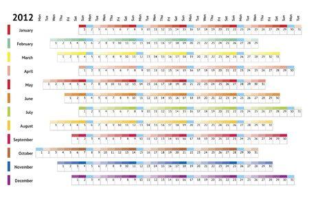 White linear calendar 2012 Vector