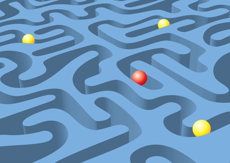 Abstract maze with balls Vector