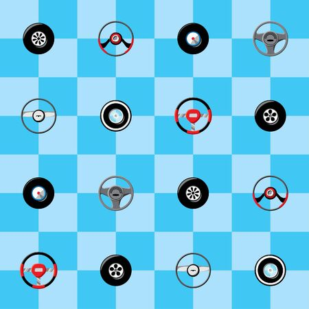 steering: Childish seamless wallpaper with steering wheels Illustration