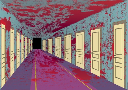 messy room: Bloody hall with doors