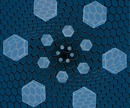 Flying glass hexagons Vector