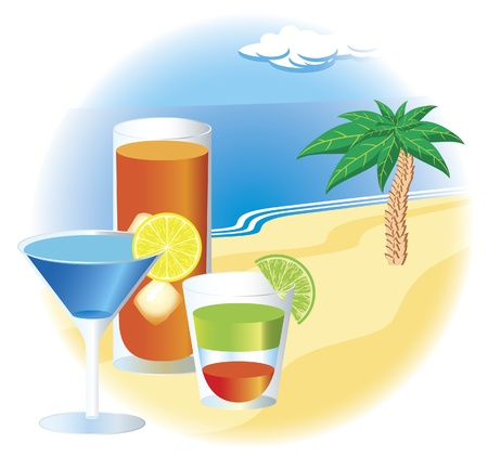 lemon tree: Beach with cocktails Illustration
