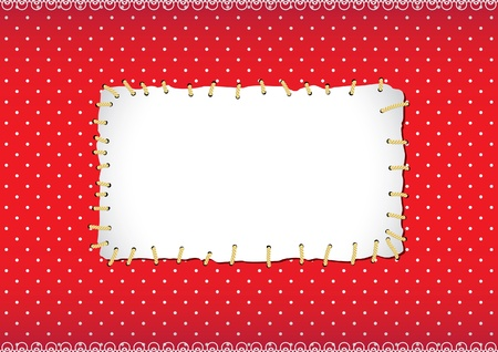 Stitched polka dot frame Vector