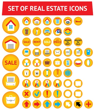 Set of 56 real estate icons Stock Vector - 10098105