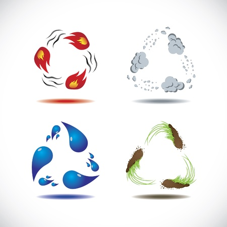 fire water: Four elements of nature Illustration