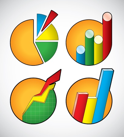 Set of business diagram icons Illustration