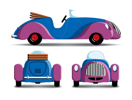 purple car: Cartoon retro car