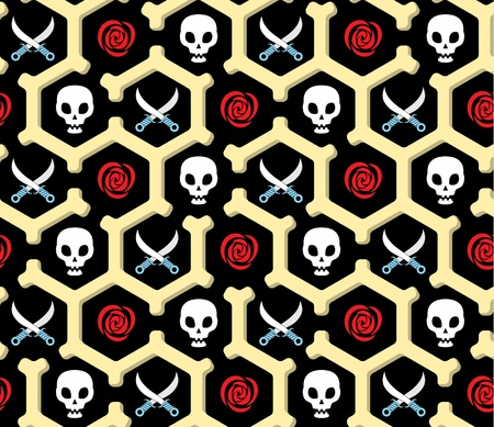 Skeleton, knives and roses seamless pattern