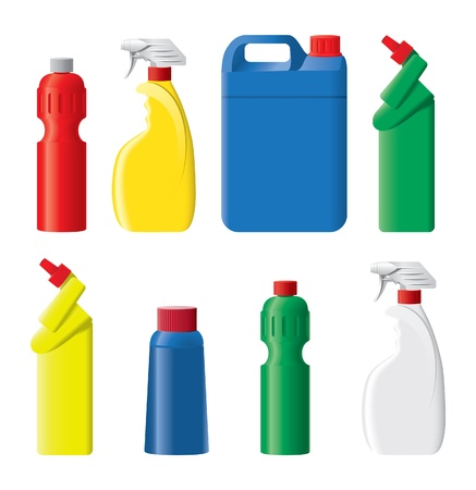detergents: Set of plastic bottles