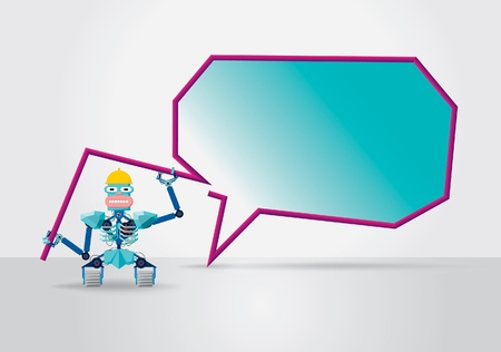 Robot with a speech bubble Vector