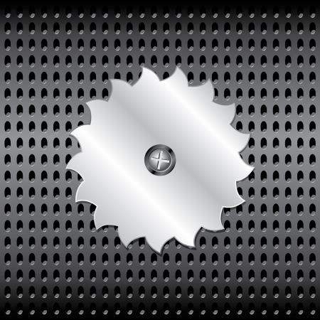 warning saw: Metal saw on a grid Illustration