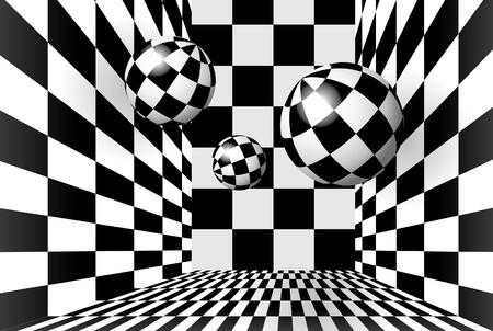 piso negro: Bolas m�gicas en sala a cuadros