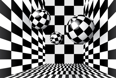 floor ball: Magic balls in checkered room