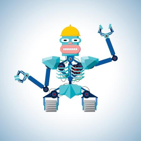 machine man: Welcoming robot with hard hat