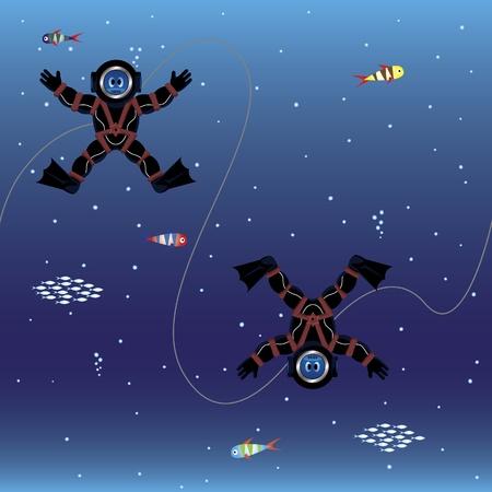 Cartoon divers seamless wallpaper Vector