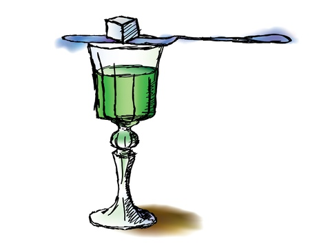 poison bottle: Glass of absinthe Illustration